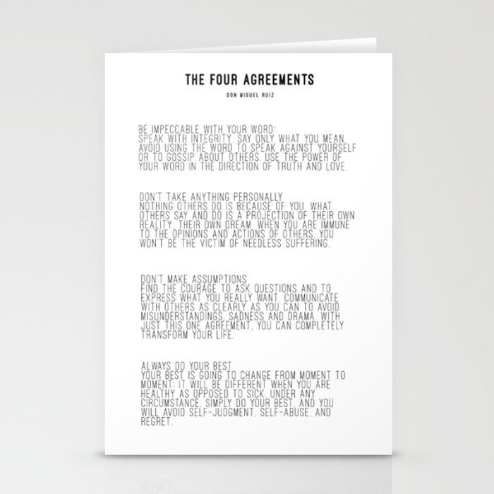 The Four Agreements BW #minimalism Stationery Cards