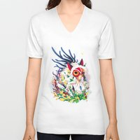 princess mononoke V-neck T-shirts featuring Princess Mononoke by Stephanie Kao