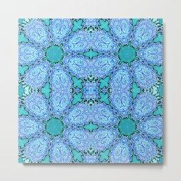 Turquoise Blue Crystal Floral Metal Print