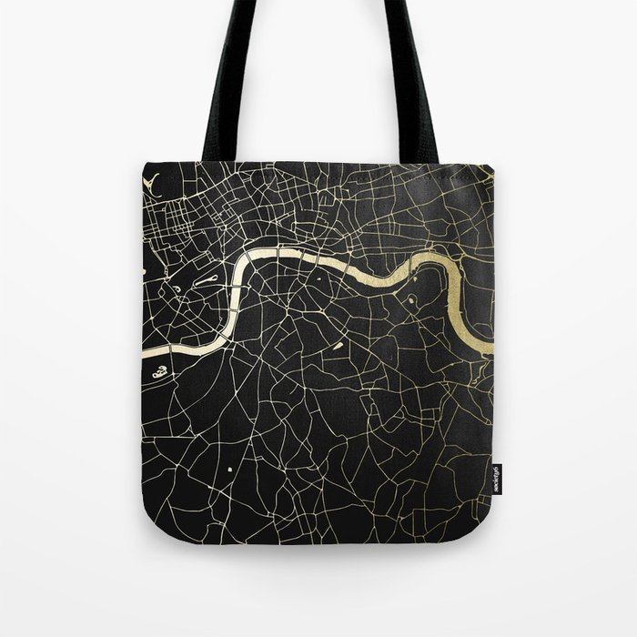 London Black on Gold Street Map Tote Bag