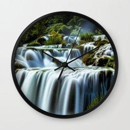 Krka Waterfall Landscape No. 2, Croatia Wall Clock