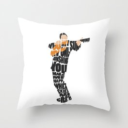 Typography Art of  The Man in Black Johnny Cash Throw Pillow