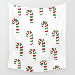 Green and Red Striped Candy Canes Wall Tapestry