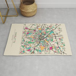 Colorful City Maps: Charlotte, North Carolina Rug