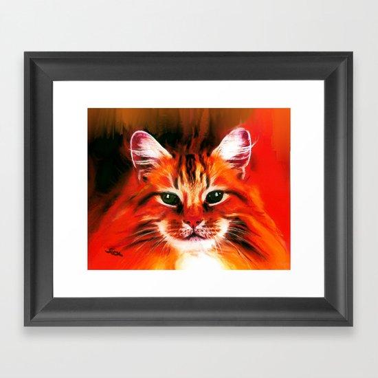 FELINE FIRE Framed Art Print