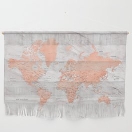 """Rose gold and marble world map with cities, """"Janine"""" Wall Hanging"""