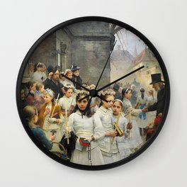 After First Communion by Carl Frithjof Smith (1892) Wall Clock
