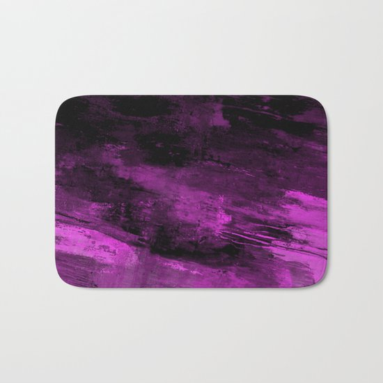 Purple Haze - Abstract, purple and black painting Bath Mat