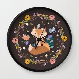 Little Princess Fox With Friends And Foliage Wall Clock