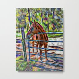 Abstract horse standing at gate Metal Print
