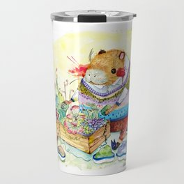 Capybara and his succulent garden. Travel Mug
