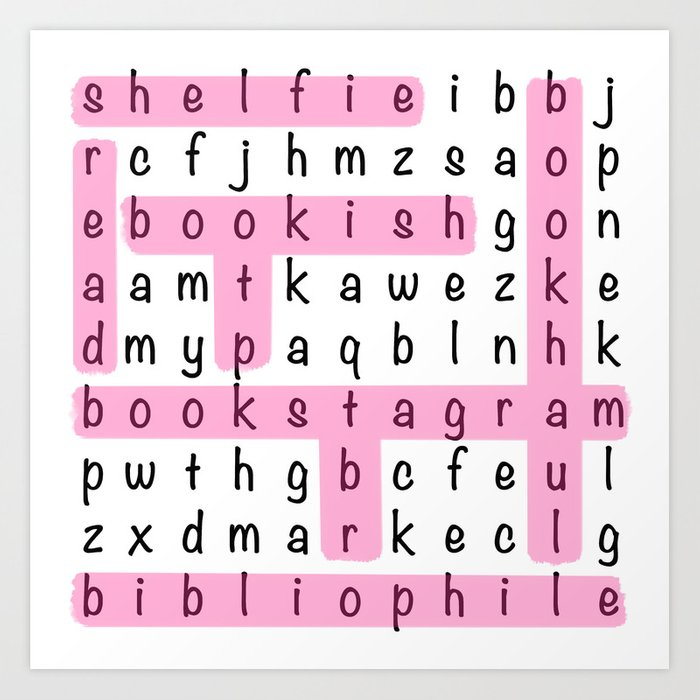 Bookstagram Word Search - Pink Art