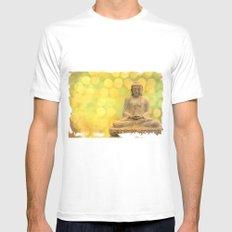 Buddha light yellow MEDIUM Mens Fitted Tee White