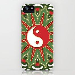 Red Yin Yang Sun Festive Mandala iPhone Case
