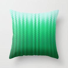 Green and Blue Ombre Soft Wavy Lines Throw Pillow