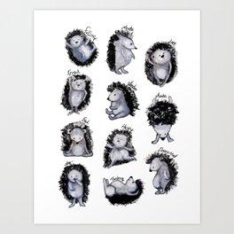 Hedgehogs Days Art Print