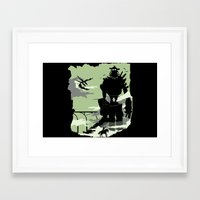 shadow of the colossus Framed Art Prints featuring Silhouette of the Colossus by Piercek25