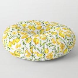 sunny lemons print Floor Pillow