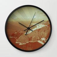 rio de janeiro Wall Clocks featuring Rio de Janeiro by amber havenside