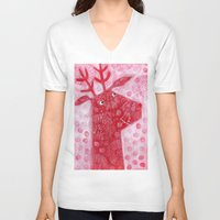 reindeer V-neck T-shirts featuring Reindeer by Nic Squirrell