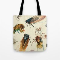 creepy Tote Bags featuring summer cicadas by Teagan White