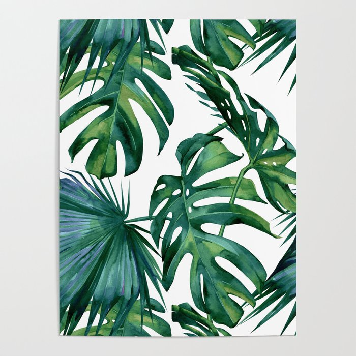Classic Palm Leaves Tropical Jungle Green Poster By