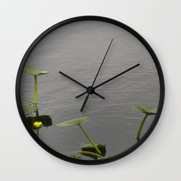 Water Lily Bloom with Lily Pads Wall Clock