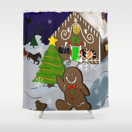 Gingerbread Christmas Shower Curtain