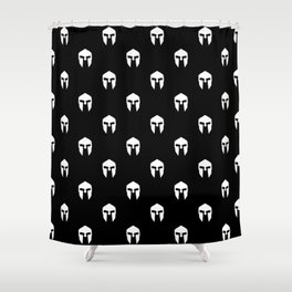 spartan black and white pattern Shower Curtain