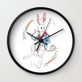 A late white rabbit Wall Clock