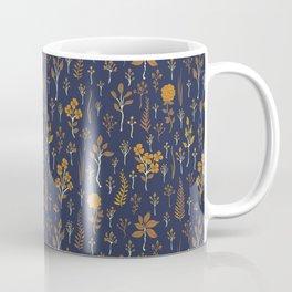 Navy Blue & Mustard Yellow Floral Pattern Coffee Mug