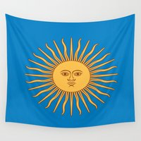 argentina Wall Tapestries featuring argentina flag sun by ArtSchool