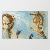 sea horse Area & Throw Rugs featuring Sea horse by Nataliya Derevyanko