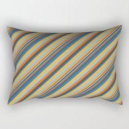 Indigo Orange Sky Blue Inclined Stripe Rectangular Pillow