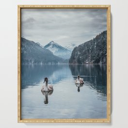 Couple of swans, romantic scene in bavarian alps Serving Tray