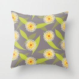 Australian Flora on Grey Throw Pillow