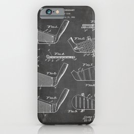 Golf Clubs Patent - Golfing Art - Black Chalkboard iPhone Case