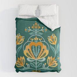 Nordic Dark Green Rose Comforters