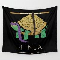 ninja Wall Tapestries featuring ninja - purple by Louis Roskosch