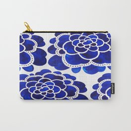 Blue Floral Watercolor Ink Painting Carry-All Pouch