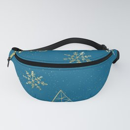 Merry Christmas Blue Gold Fanny Pack