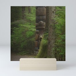 Mysterious Solitary Totem Pole in Remote Alaskan Forest Mini Art Print