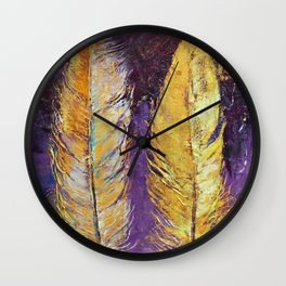 Gold Feathers Wall Clock