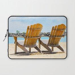Beach Chairs at the Lake - Summertime - Beach Decor Laptop Sleeve