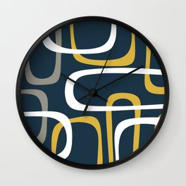 Mid Century Modern Loops Pattern in Light Mustard Yellow, Navy Blue, Gray, and White Wall Clock