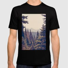 Mountains through the Trees LARGE Black Mens Fitted Tee