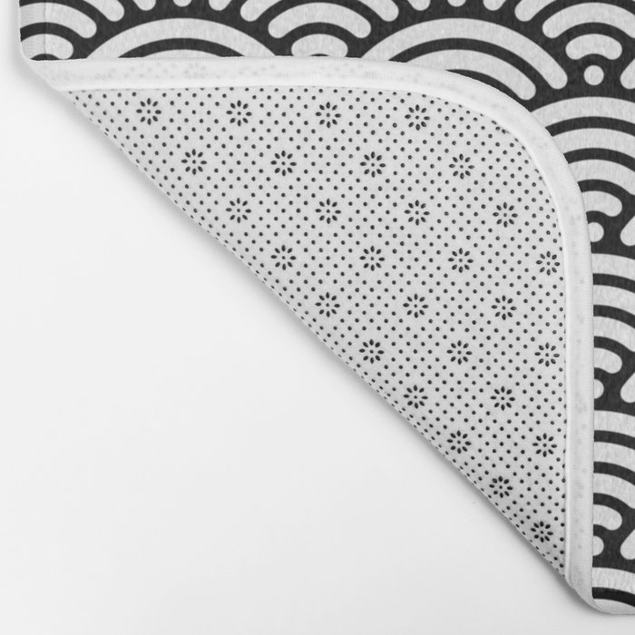 Black White Mermaid Scales Minimalist Bath Mat