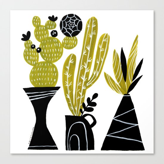 GREEN AND BLACK CACTUS Canvas Print