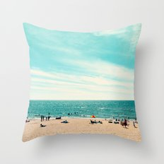 Portrait of a Beach Throw Pillow