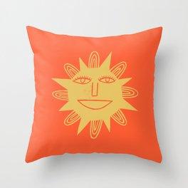 Cheerful Happy Sunshine Numero 3 Red Throw Pillow